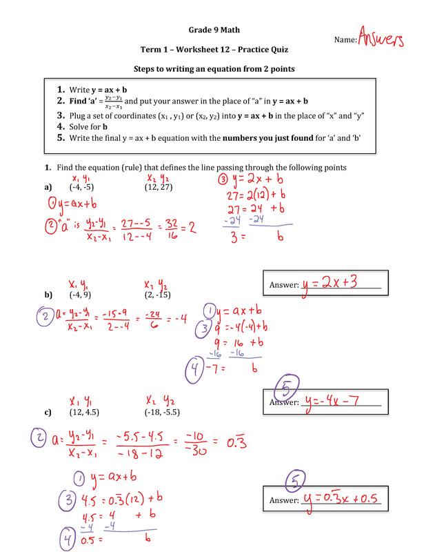 Grade 9 Math Worksheets And Answers